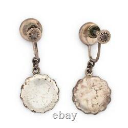 Antique Vintage Deco Sterling Silver Japonais Amita Onyx Damascene Boucles D'oreilles 4.6g