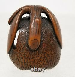 Antique Vintage Finement Sculpté Boxwood Japonais Nestuke Fruit Nut Go Scholars