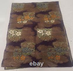 Antique Vintage Japonais Fine Silk Brodé Kimono Obi Panneau Floral