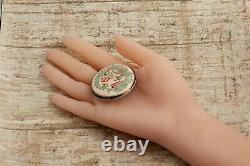 Antique Vintage Nouveau Sterling Silver Japonais Satsuma Porcelaine Pin Broche
