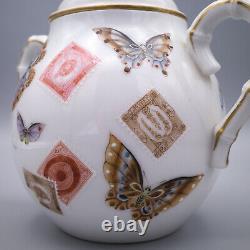 Bâton De Sucre De Porcelaine De Kutani Décoré De Papillons Et De Timbres
