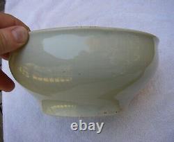 Beau Vieux Japanée Porcelaine Celadon Bowl-hotei Avec Gourd Interior-nr