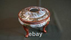 Belle Fine Période Japonaise Meiji Période Kutani Collecte De Cheveux Lidded Bowl Signé