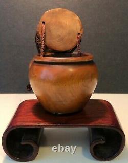 Boîte Japonaise Rare Et Antique Finement Sculptée De Buis Hantée Tonkotsu-boîte De Tabac