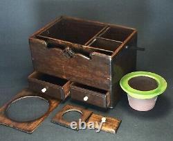 Boîtier En Bois Japonais Antique Rare Et Fin Du Xixe Siècle Avec Poignée Et Tiroirs