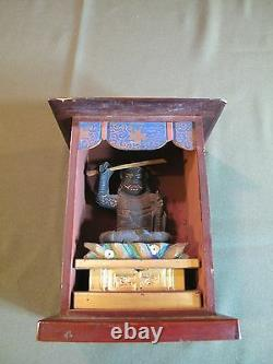 Bouddha De Voyage Japonais Fin Du Début Du 20ème Siècle Dans Le Cas Signé Sur Le Dos