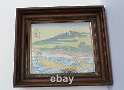Broderie En Soie Japonaise Vintage, Impression Japonaise Célèbre Mt Fuji Boat Scene