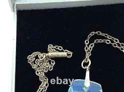 Collier Antique Japonais De Pendentif En Verre De Cristal D'intaglio D'argent D'intaglio