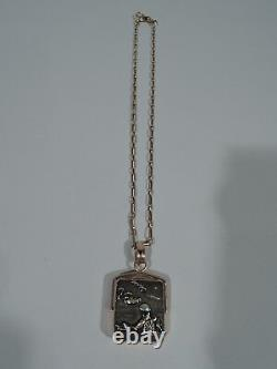 Collier Antique Pendentif Meiji Crane & Lily Pendentif Japonais Shakudo & Gold