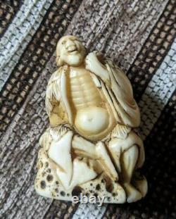 Edo Période Fine Okimono Net Suke Sennin Sur Rock Superbe Détail Caché Himotoshi