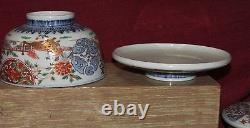 Ensemble De 8 Bols Couverts De Porcelaine Japonaise Antique Fine Imari