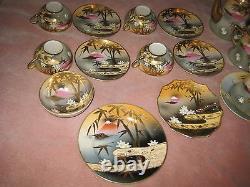 Ensemble De Thé Japonais Antique Avec La Marque De Mt. Fuji, Porcelaine Fine