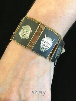 Fab Antique Japanese Antique Immortals' Bracelet (sterling, Émail & Laiton)