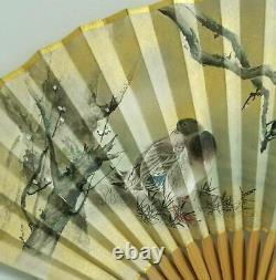 Fan Chinois Peint Fin Chinois Laqued Canards Boîte Signé Comme Est Repai