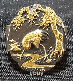Fermoir Oriental Oriental Antique Japonais D'écharpe De Fichu D'or