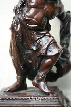Figure Japonaise De Bronze/spelter D'ère De Meiji D'un Attrape-rats, Finement Moulée