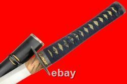 Fin 18ème C. Samurai Japonais Wakizashi Sword Par Kuroda Morimasa Wild Hamon