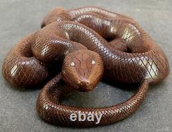 Fin Japonais Meiji Boxwood Okimono Snake