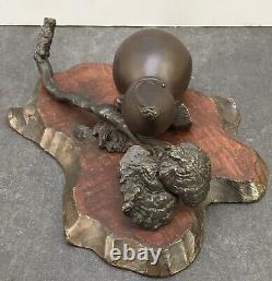 Fin Japonais Meiji Bronze Okimono Gourd & Rui, Signé