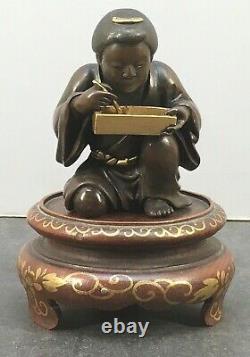 Fin Japonais Meiji Miyao Multi-métal Okimono Femme