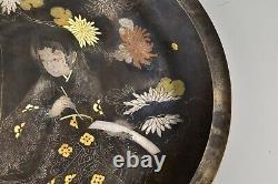 Fin Japonais Meiji Période Chargeur De Bronze Avec L'or Et L'argent Incrusté Signé