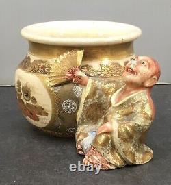 Fin Japonais Meiji Satsuma Okimono Homme Avec Vase