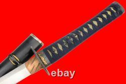 Fine 18ème C. Japanese Samurai Wakizashi Sword Par Kuroda Morimasa Wild Hamon
