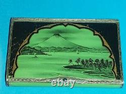 Fine Antique Art Deco French Or Swiss Solid Silver 925 Enamel Japanese Style Box