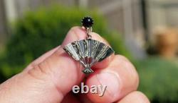 Fine Antique Art Déco Japonais Argent Onyx & Laque Screw Fan Boucles D'oreilles En Boîte