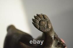 Fine Antique Bronze Japonais Okimono D'un Tanuki Signé