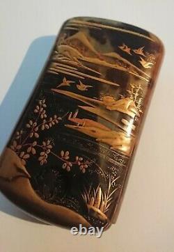 Fine Antique Faux Tortoise Shell Cigarette Cigarette Celluloïde Japonaise Vers 1900
