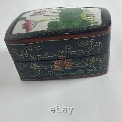 Fine Antique Japanese Makura Box 1890s -kintsugi Céramique Lotus Tile, Laqué