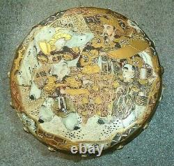Fine Antique Japon Satsuma Poterie Boîte À Tambour En Céramique Pot