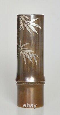 Fine Antique Japonais Argent Inclaid Ikebana Vase De Bronze Signé Période Meiji