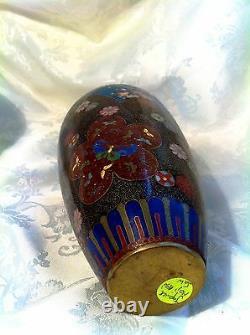 Fine Antique Japonais Big Kyoto Cloisonne Vase, Fil D'or, 10, Pas De Défauts