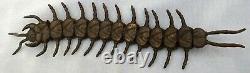 Fine Antique Japonais Centipede Gravure En Bronze Okimono Signé Insecte