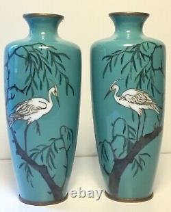 Fine Antique Japonais Cloisonné Émail Paire Vases Egrets Attr. À Ota Tameshiro