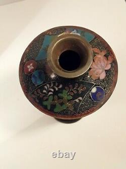 Fine Antique Japonais Cloisonne Vase Matching Paire Meiji Signé
