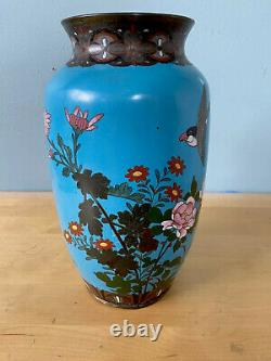 Fine Antique Japonais Cloisonne Vase Meiji Période Grande 10in Chinois