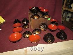 Fine Antique Japonais Laquer Bowl Et LID Set De 11 Pcs Meiji