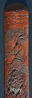 Fine Antique Japonais Meiji Période Sculpté Bambou Page Tourner Avec Paons