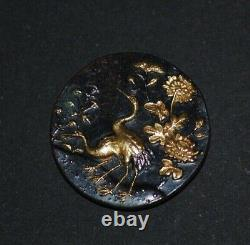 Fine Antique Japonais Meiji Shakudo Iron Gold Crane Figure Peony Design Button