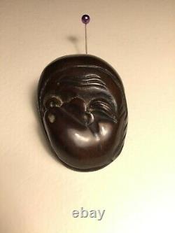 Fine Antique Japonais Netsuke Masque Mennetsuke De Hyottoko