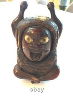 Fine Antique, Japonais/japon Bois Okimono Sagemono Angry God Withabalone Shell