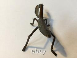 Fine Antique, Japonais/japon Cuivre Okimono Netsuke Praying Mantis Lifesize