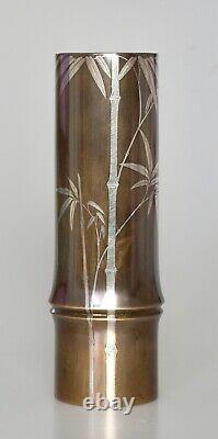 Fine Antique Japonaise Argent Incrusté Ikebana Vase En Bronze Signé Meiji Période