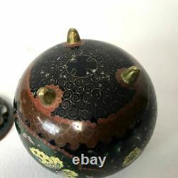 Fine Antique Meiji Japonais Cloisonne Tri Footed Censer