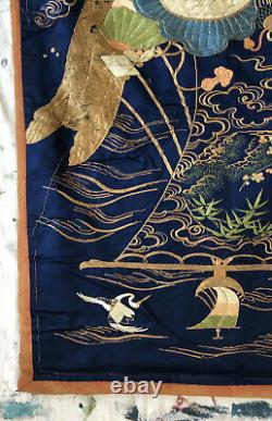Fine Antique Meiji Japonais Silk Embroidery Panel Fukusa Hanging 36x27 Revêtement