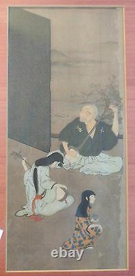 Fine Antique Peinture De Rouleau Japonais Joueurs Shamisen Sérigraphie