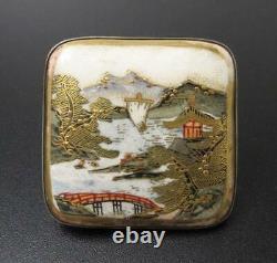 Fine Antique Satsuma Japonais Peint À La Main Ceinture Buckle Argent Signé